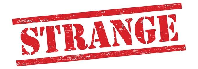 Obraz STRANGE text on red grungy lines stamp. - fototapety do salonu