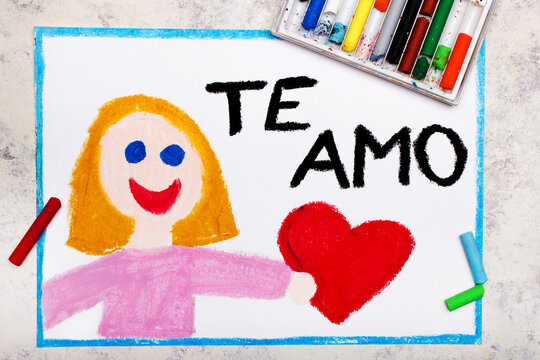 Colorful drawing: A smiling woman holds a red heart in her hand. Declaration of love with inscription in Spanish language means I LOVE YOU