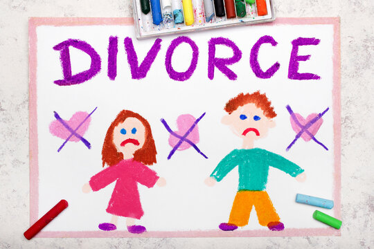 Colorful drawing: Break up or divorce. End of a relationship and two sad people, woman and man and word DIVORCE