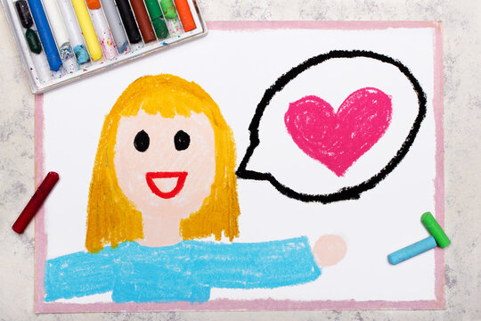 Colorful drawing: Smiling woman and speech balloons with pink heart. Declaration of love.
