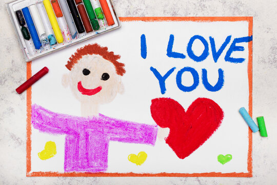 Colorful drawing: A smiling man holds a red heart in his hand. Declaration of love with inscription I LOVE YOU