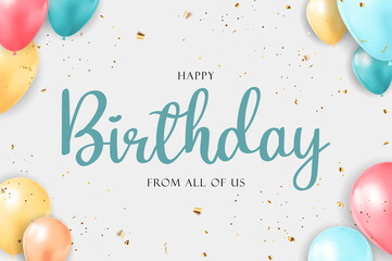Obraz Happy Birthday congratulations banner design with Confetti, Balloons and Glossy Glitter Ribbon for Party Holiday Background. Vector Illustration - fototapety do salonu