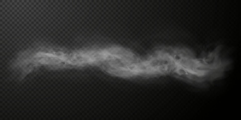 Fototapeta White smoke puff isolated on transparent black background. PNG. Steam explosion special effect. Effective texture of steam, fog, smoke png. Vector. obraz