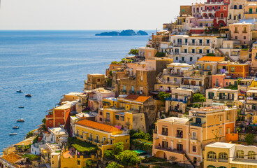 Obraz Positano Houses and Li Galli island - fototapety do salonu