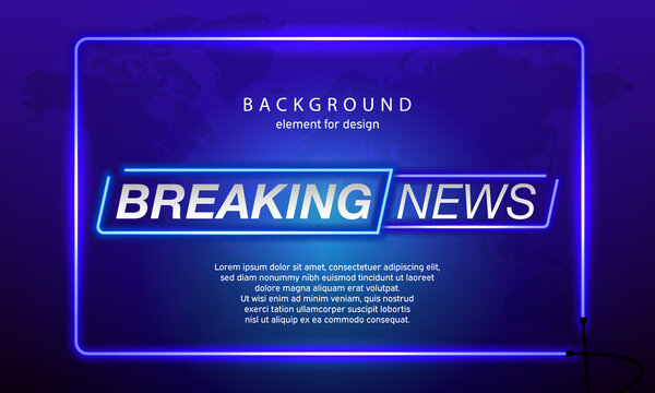 Neon Breaking News on World Map Background. Planet News Background Business Technology. Vector illustration template for your design.