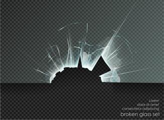 Obraz hole broken glass on transparent background - fototapety do salonu