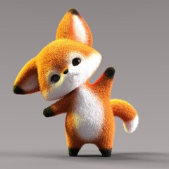 Fototapeta premium 3D-illustration of a cute and funny cartoon fox looking sceptical. isolated rendering object