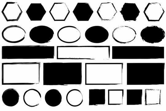 Black ink geometric figure icon. Hexagon, oval, rectangle, circle, square emblems. Vector illustration. Stock image.