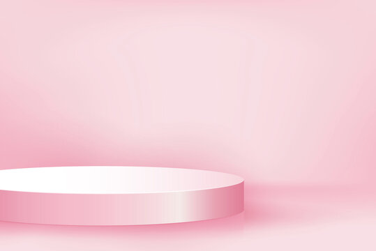 Podium mockup for product display in pink background for October breast cancer awareness month campaign