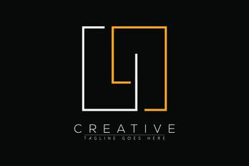 Obraz Initial letter li, il, l, i elegant and luxury Initial with Rectangular frame minimal monogram logo design vector template - fototapety do salonu