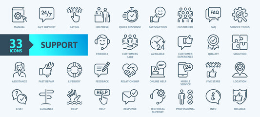 Obraz Customer Service and Support - Outline Icon Collection. Thin Line Set contains such Icons as Online Help, Helpdesk, Quick Response, Feedback and more. Simple web icons set. - fototapety do salonu