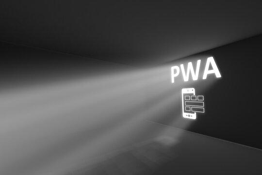 PWA rays volume light concept 3d illustration