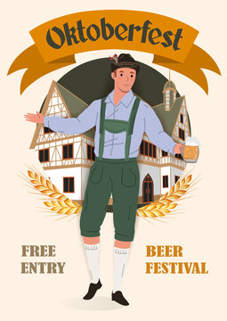 Oktoberfest Beer Festival Vintage Poster. A man in a national German costume with a mug of beer on the background of a traditional house. Flat vector illustration.