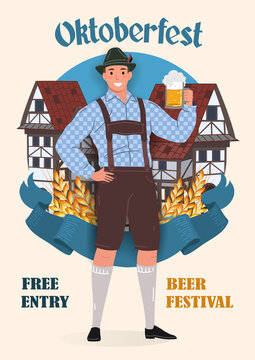 Oktoberfest beer festival vintage poster. A man in a traditional Bavarian national costume with a mug of beer on the background of rural houses. Flat vector illustration.
