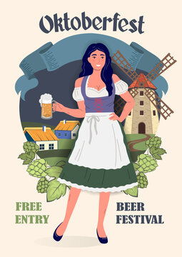 Oktoberfest Beer Festival poster in retro style. Young Oktoberfest girl in national German traditional clothes with a glass of beer in her hand against the background of a rural landscape. Flat vector
