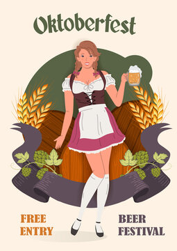 Young Oktoberfest girl in national German traditional clothes with a glass of beer against the background of beer barrels, barley and hops. Retro Oktoberfest Festival poster  vector illustration