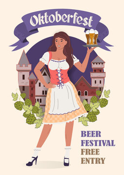 Oktoberfest Beer Festival poster in retro style. Young Oktoberfest girl in national costume with glasses of beer on a tray. Flat vector illustration.