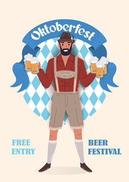 Oktoberfest beer festival vintage poster. Smiling man in traditional German national clothes with glasses of beer in his hands. Flat vector illustration.