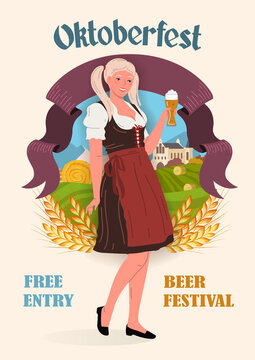 Young smiling girl in traditional German clothes with a glass of beer in her hand, against the background of a rural landscape. Oktoberfest Festival poster in retro style. Flat vector illustration.