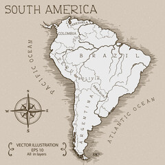 Vintage Map of South America. Hand drawn vector illustration.