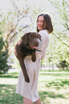 Smiling young woman is holding her puppy of chocolate Labrador retriever in arms. Love for pets and friendship concept.