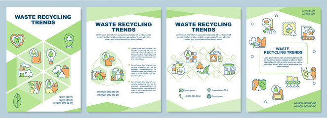 Fototapeta Waste recycling trends brochure template. Waste management problem. Flyer, booklet, leaflet print, cover design with linear icons. Vector layouts for presentation, annual reports, advertisement pages obraz