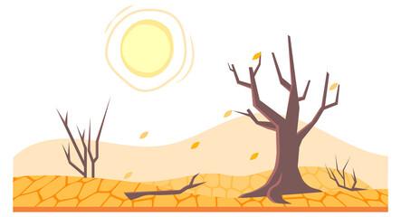 Fototapeta Drought in land or dry desert soil with dead trees obraz