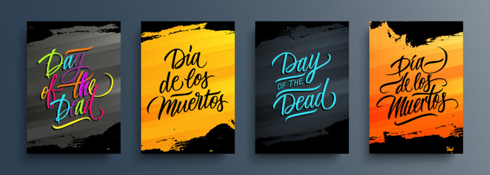 Day Of The Dead cards set. Dia de los Muertos (Day Of The Dead in Spanish). Mexican traditional holiday celebrate templates with black brush strokes for holiday greetings. Vector illustration.