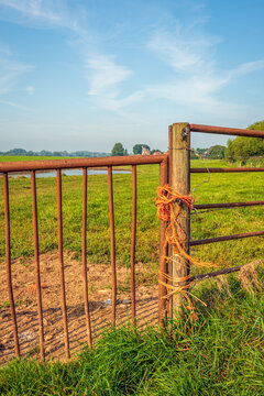 Dutch agricultural landscape in the summer season. In the foreground part of a closed rusty gate with colorful rope. The photo was taken near the village of Herwijnen in the province of Gelderland.