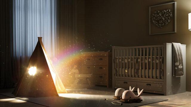 Magisches Zelt in Kinderzimmer als Fantasie Konzept