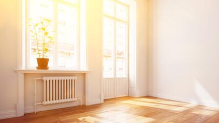 Fototapeta Helle sonnige Wohnung mit Balkon im Sommer im Altbau obraz