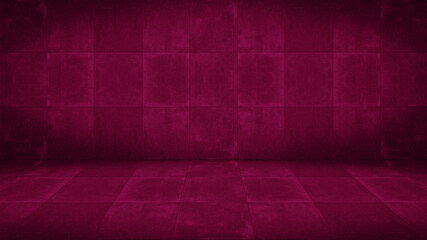 Obraz Pink magenta colored concrete cement stone, square tiles wall and floor / empty 3D studio room , interior texture for display products, wall background - fototapety do salonu