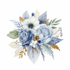 Fototapeta A watercolor vector Christmas bouquet with dusty blue flowers and branches. obraz