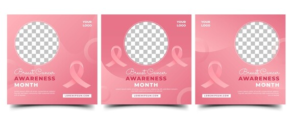 Obraz Set of Breast cancer awareness month social media post template. Modern gradient pink background with ribbon and place for the photo. Usable for social media, banner, card, and website. - fototapety do salonu