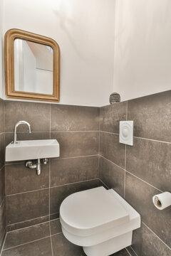 Modern bathroom interior with washbasin under mirror at home