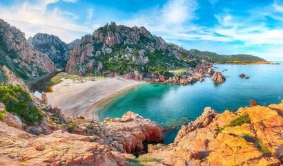Obraz Captivating view of Li Cossi beach on Costa Paradiso resort. - fototapety do salonu