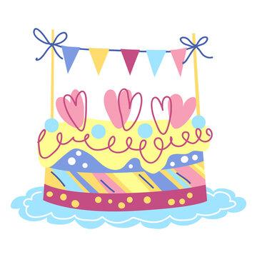 Illustration of Happy Birthday cake. Celebration or holiday item.