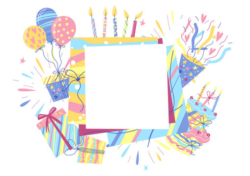 Happy Birthday greeting card with frame. Celebration or holiday items.