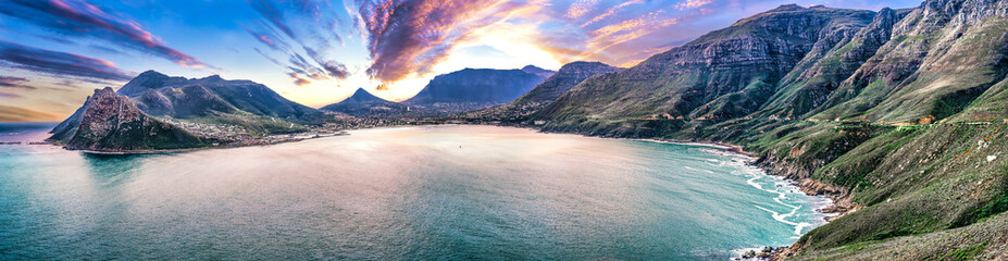 Fototapeta Scenic mountain landscape and sunset view along world famous coastline. Cape Town, South Africa is a wonderful travel destination for nature, adventure and tourism. obraz