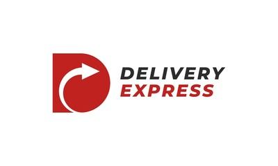 Fototapeta Delivery express logo. Letter D for delivery with right arrows. Usable for delivery service, transportation, logistic, courier, shipping, and others. obraz