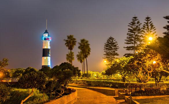 Faro de la Marina lighthouse in Lima, Peru