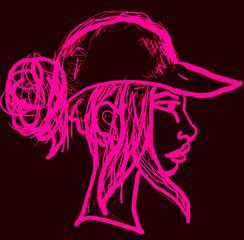 Dziewczyna w czapce z daszkiem różowy rysunek. na cienym tle.