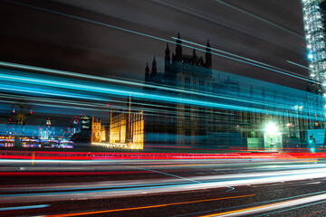 Light Trails On City Street By Buildings At Night In London