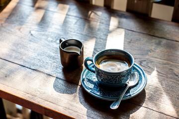 Fototapeta Coffee, Milk  With On Table. Top View obraz