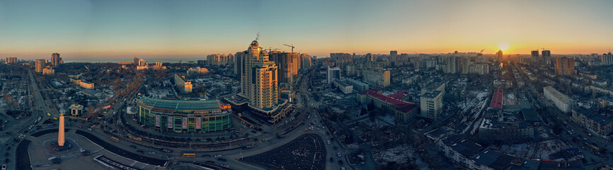 Fototapeta Panorama with winter sunset on Genoese street in Odessa Ukraine. obraz