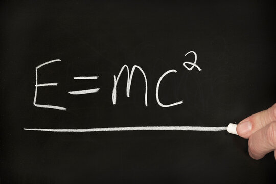 Special relativity equation on chalkboard