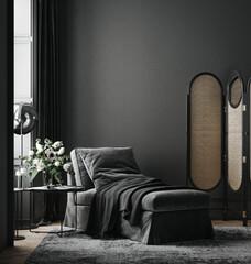 Obraz Home interior, luxury modern dark living room interior, black empty wall mock up, 3d render - fototapety do salonu