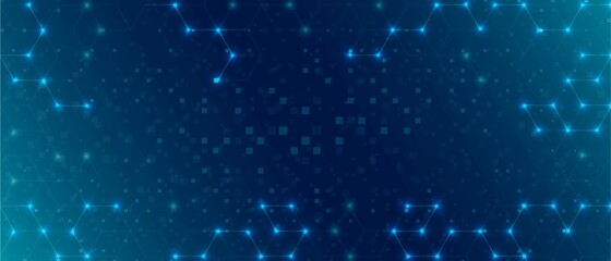 Fototapeta Neon technology background. Abstract pattern of hexagons made of geometric shapes, small particles. Digital network. Bright stars. Banner for social networks, landing pages of websites. Vector  obraz