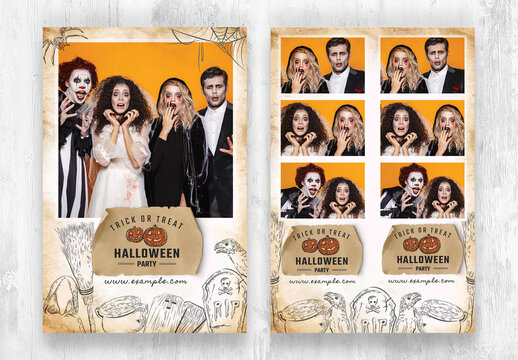 Halloween Photo Booth Layout with Rustic Worn Paper Effect