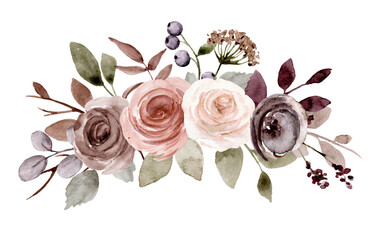 Obraz Flower bouquet watercolor drawing for printing, sublimation, web design. - fototapety do salonu